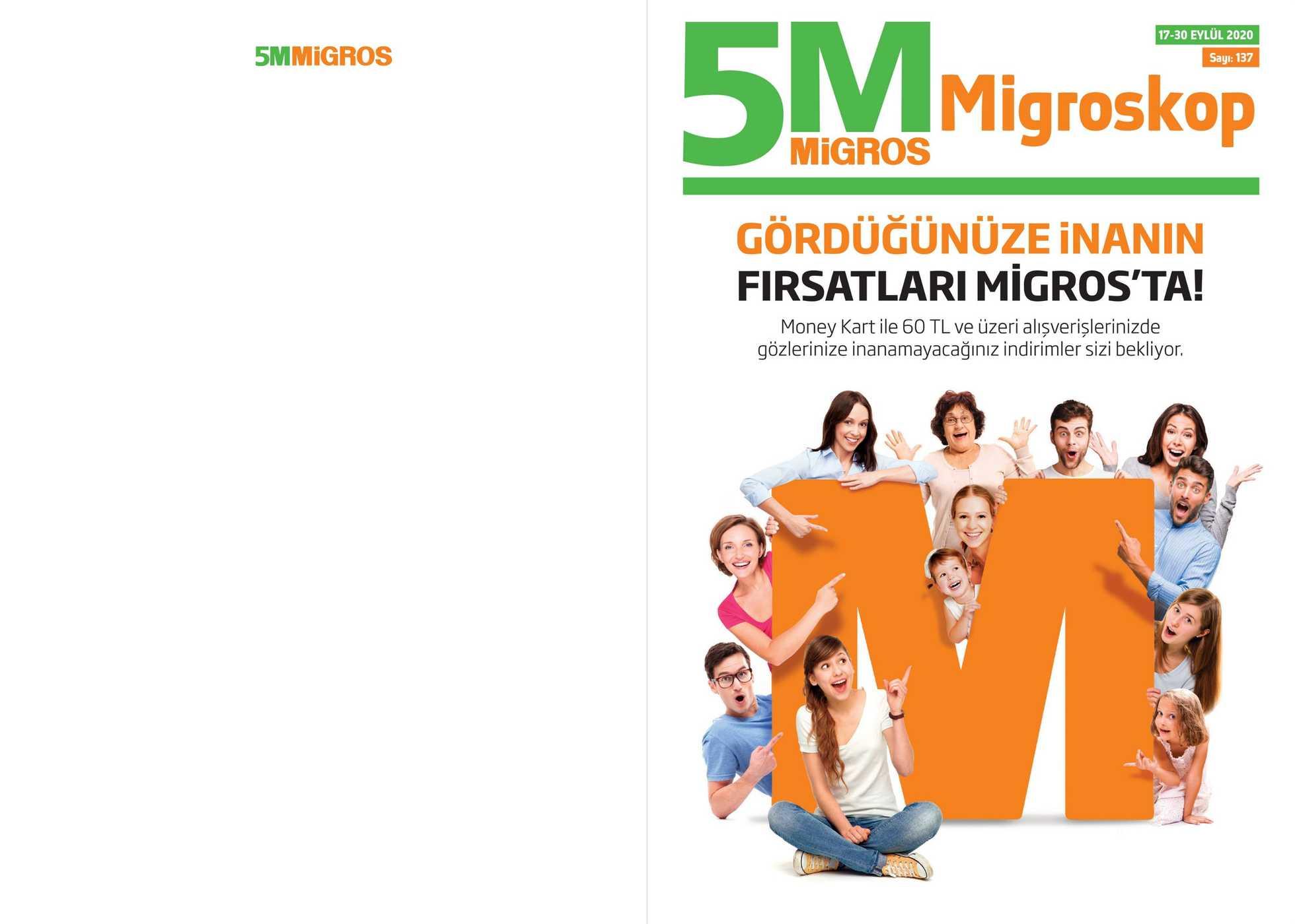 Migros - indirimler 17.09.2020 tarihinden başlayıp 30.09.2020 - tarihine kadar devam ediyor. Sayfa 1.